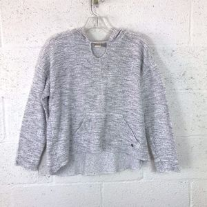 Roxy Heather Gray Hoodie Sweater Chocker Neck.